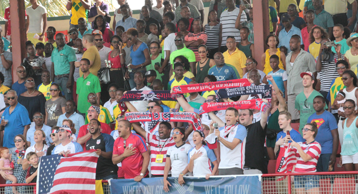 United States and Vincy Heat fans at Friday's game. (IWN photo)