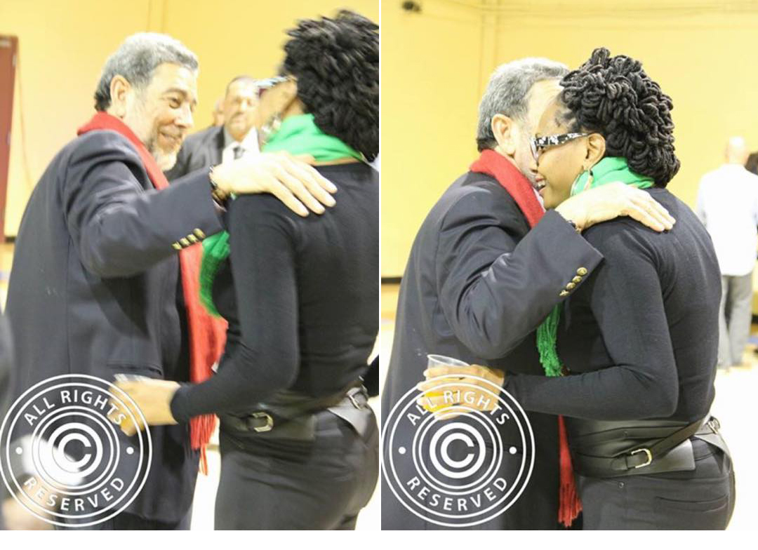 These photos have surfaced on social media of Gonsalves and Wood interacting at his town hall meeting last year. Wood told iWitness News she was talking to Gonsalves about a police officer who has allegedly impregnated a 15-year-old girl. (IWN photo)