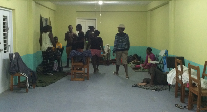 There were at least 25 persons at the emergency shelter in Rillan Hill Wednesday night. (IWN photo)
