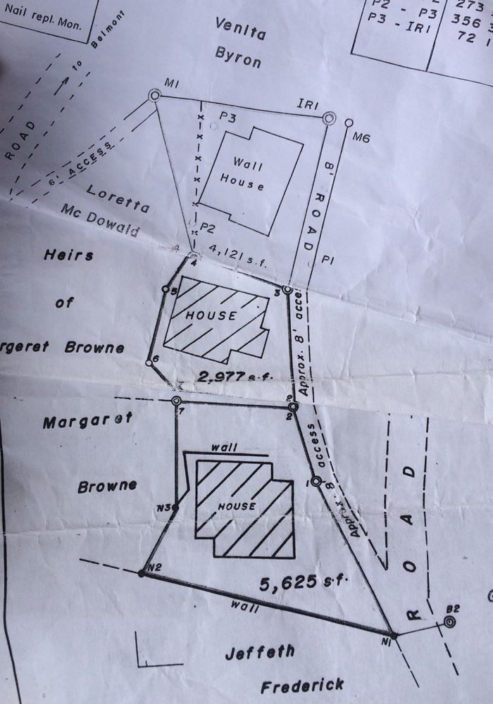 Plans from the Lands and Survey department clearly shows an 8-foot access road outside Browne's property (P3). (IWN photo)