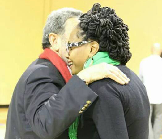 "Prime Minister Gonsalves, left, and Miranda Wood interact at his town hall meeting in New York last year. The woman said Saturday night that Gonsalves had ""attacked"" her when she was 15 years old."