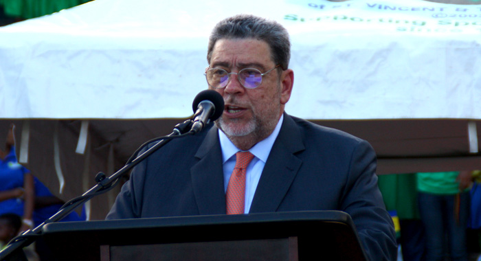 Prime Minister Dr. Ralph Gonsalves addressing the Independence Parade at Victoria Park, Kingstown on Oct. 27, 2016.