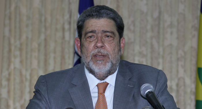 Prime Minister Dr. Ralph Gonsalves addresses the event. (IWN photo)