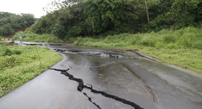 There are large cracks in some parts of the road. (IWN photo)