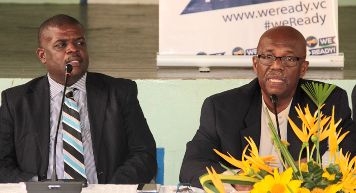 "NDP president Arnhim Eustace, left, and North Leeward MP, Roland ""Patel"" Matthews at an NDP press conference in January. (IWN photo)"