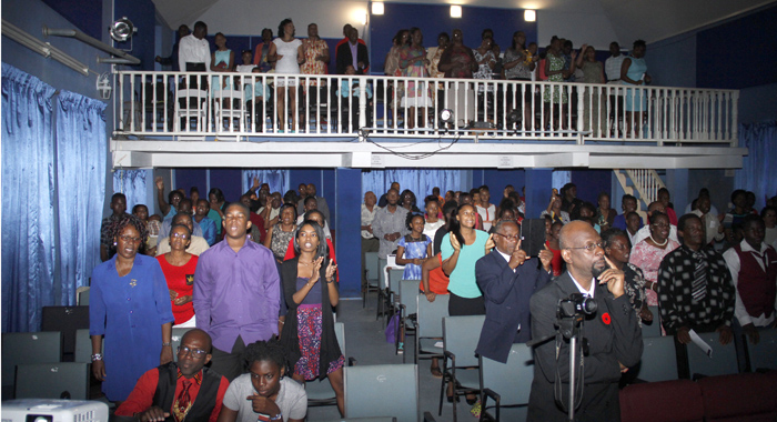 Congregants at Sunday's service, marking the 40th anniversary of the Church of the Nazarene in St. Vincent.
