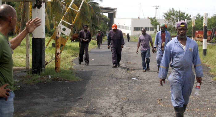 St. Vincent Shipyard Ltd Workers exit the Ottley Hall Marina to talk to iWitness News on Friday. (IWN photo)