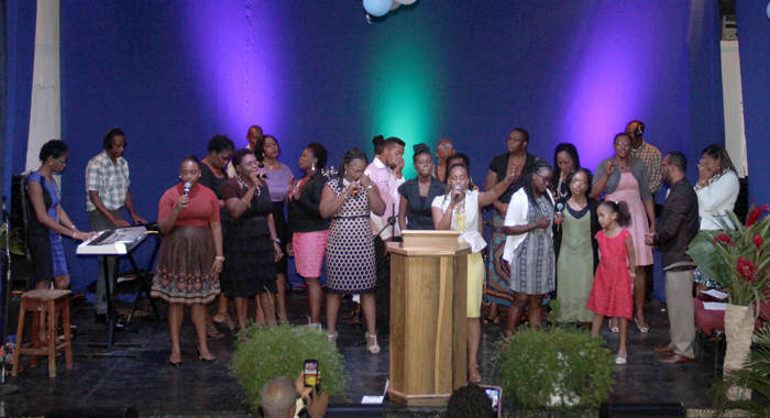 Worship leaders during Sunday's service at the Peace Memorial Hall in Kingstown.