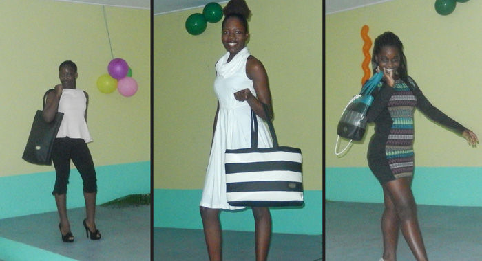 Models show off Paradise Malone bags at the event.