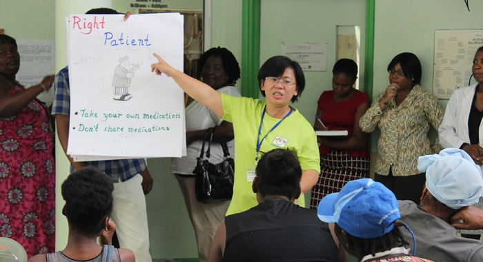 Cch Chief Pharmacist Sock Ping Ng Introduced The Medication Administration 5 Rights To The Vincentian Patients. July 17 2017 At The Pharmacy Of The Mcmh