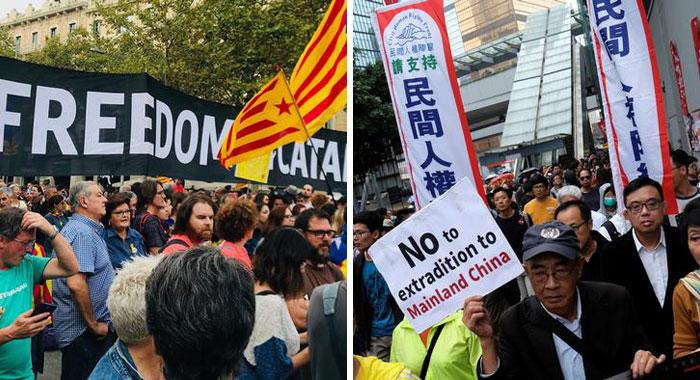 Catalonia Hong Kong Protest