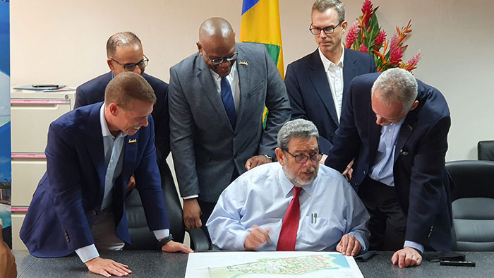 Ralph Gonsalves Meeting With Adam Stewart And His Executive Team Of Sandals Beaches
